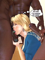 Deep mouth gulp and excellent 3d fuck of a blonde slut and horny brown males