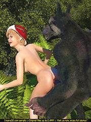 Cute Red Cap cannot get enough of the throbbing wolf dick