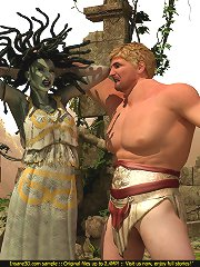 Horny Medusa loses a battle and gets rammed hard