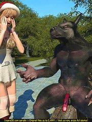 Big black bad wolf bones Red Cap with his throbbing member