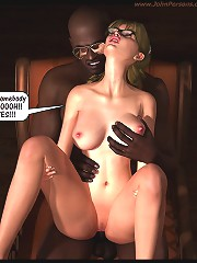 Crazy 3d sex comic pictures with two african american folks with fat cocks and just one attractive golden-haired chick