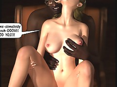 Wild 3d sex comic pics with a couple of black folks with fat dicks and just one hot golden-haired hottie