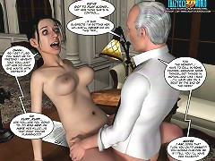 3d porn xxx. Young maid fucked hard by old man right on the table
