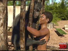 Black jungle explorer pounded by a big strong monkey man