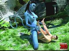 Dominating Na'vi makes a man eat her horny wet slit