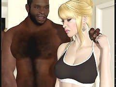 Top rated interracial 3d porn with blonde big ass hottie getting black banged