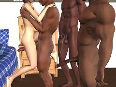 3d hard black cocks fucks little white slut on this sex toons
