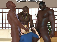 Deep throat swallow and good 3d fuck of a golden-haired girl and naughty african american gentlemen
