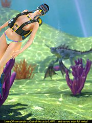Female diver gets it on with a weird sea monster