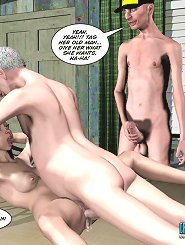 3d porn comix about a horny young girl fucking with three men and getting cum inside her