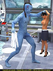 Hung avatar gets his rod milked by a foxy female assistant