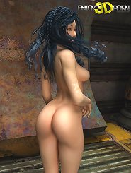 Amazing brunette beauty strips naked