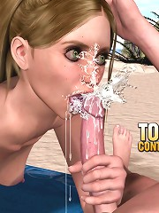 3d sex comics of a young boy and girl are having doggie sex on the lonely sandy beach