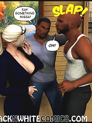 White maid showing boobs to three black blokes in crazy 3d xxx comics