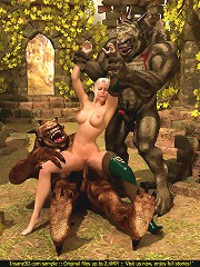 Huge horny trolls double-team a tiny sexy elven slut