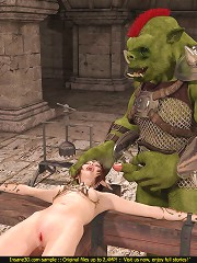 Terrifying creature catches a sexy elf for raw BDSM fucking