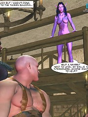 Sexy ample-breasted violet-skinned darling is making nuts with two 3d comix at one run!