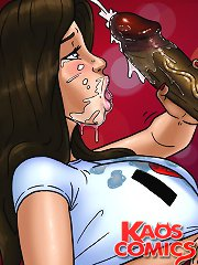 Horny porno comic slut takes the girl's facial skin covered with jizz by serious thick dark colored banging rod!