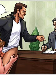 Porky office bitch gagged with huge cock in shocking blowjob cartoons