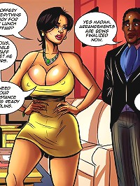 Cartoon interracial. Sure lady, preparations for your lunch party have been finalized now
