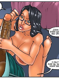 Slutty babe is deepthroating ebony penis in hot interracial comics