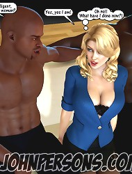 John Persons. 3D interracial sex interview