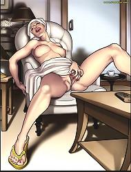 Interracial cartoon sex with alone caucasian wife self pleasuring her wet cunt