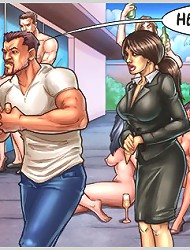 Hardcore cartoon gangbang with muscled guys and horny babes