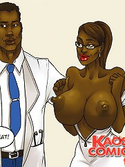 Horny buxomy slut achieves the effects of her innovative puffy nipple treatment in interracial cartoons!