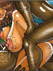 Two huge black dicks for the one ebony pussy in a hot cartoon group porn