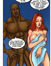 Vag explosion by a massive black cock in this naughty interracial comic porno
