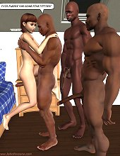 3d hard black cocks fucks little white slut on this sex toons