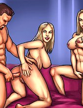 Man from twins xxx cartoons fucks two blonde twin sisters