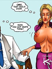 Hot black doc disgraces chicks at gyno clinic in interracial sex comics