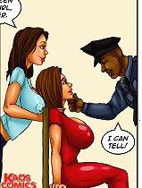 Busty slut fucked by kinky police bitch and dude in cartoon xxx comics