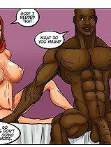 Splendid full-figured redhead is going wild in a black sex cartoon