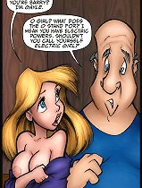 JKR comix. Barry start to eat slipping cartoon girl pussy