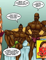 Sexy lovely xxx comix bitch is presented to a few tough brown guys hungry for orgy!
