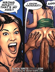 Now put this black monster in my pussy real slow. Wrong hole you black xxx comic fucker!