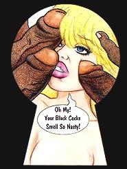 On this cartoon sex comics white slut sucking three black dicks