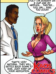Horny ebony doc looks at large better titties of his attractive busty medical patient in porn toons!