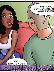 Black chicks hitting on white guys in John Persons comic porn