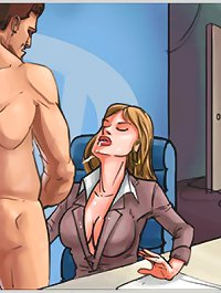 Dirty naked cartoon porn with office whore getting full facial of sperm