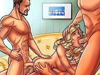 Group cartoon porn with girl & three men during cartoon fuck