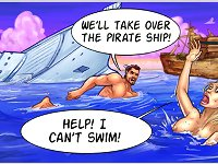 We will take over the pirate ship in this xxx cartoon game! Help, I can't swim!