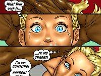 Hot blonde cartoon girl suck biggest black cock in her life