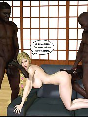 3d interracial group of 3 with chesty golden-haired which screwed quite hard by the beach!