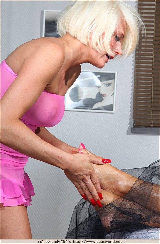 Give a sensual mature foot massage