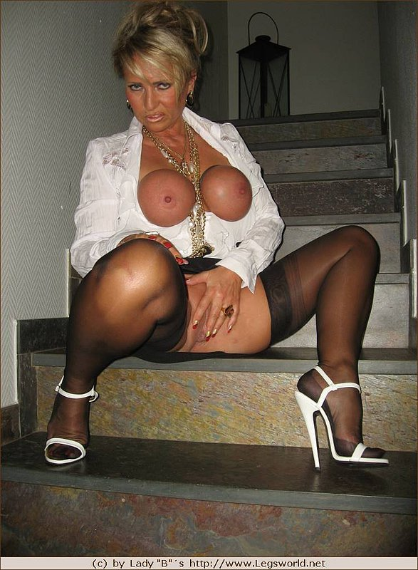 blonde mom with tied up tits on the stairs