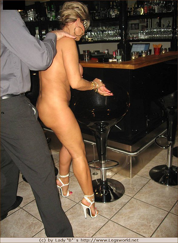 Milf wife fake tits in bar